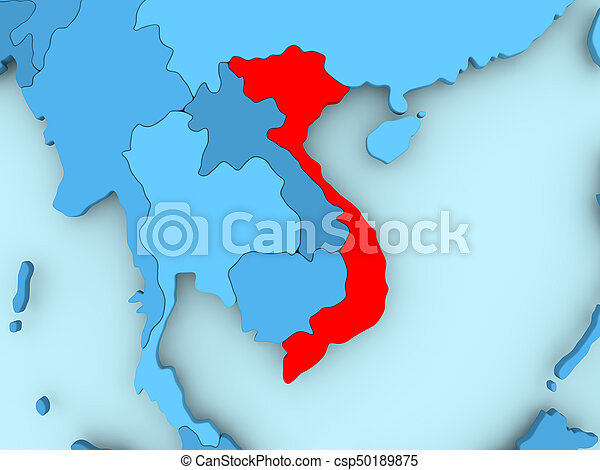 Map of vietnam vietnam in red on blue political map 3d picture map of vietnam csp50189875 gumiabroncs Images