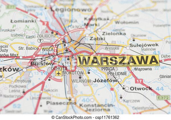 Map of warsaw city. Macro images of warsaw (warszawa, poland) on map.