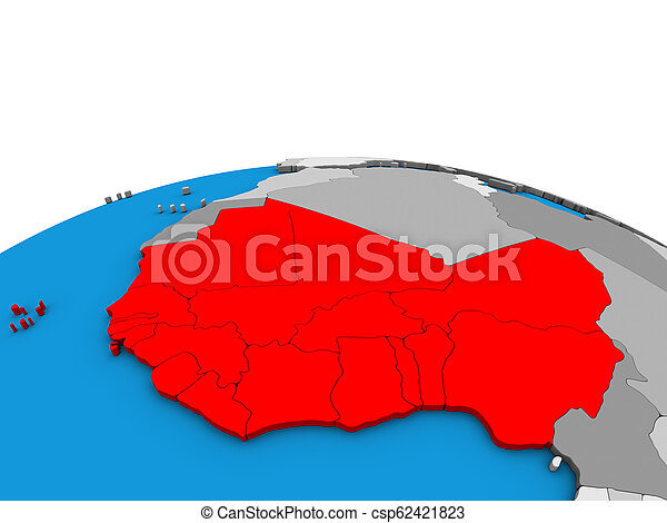 Map of Western Africa on 3D globe - csp62421823