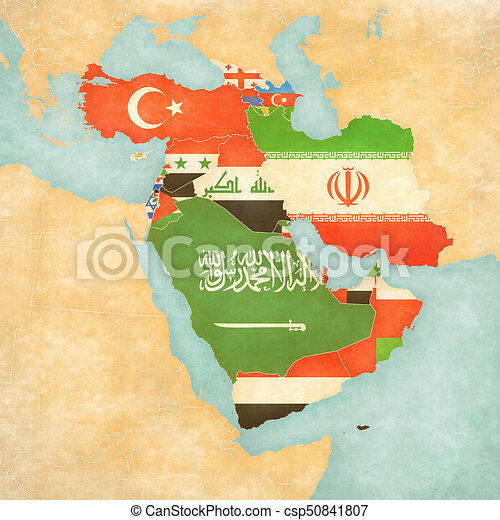 Map Of All Of Asia.Map Of Western Asia Flags Of All Countries