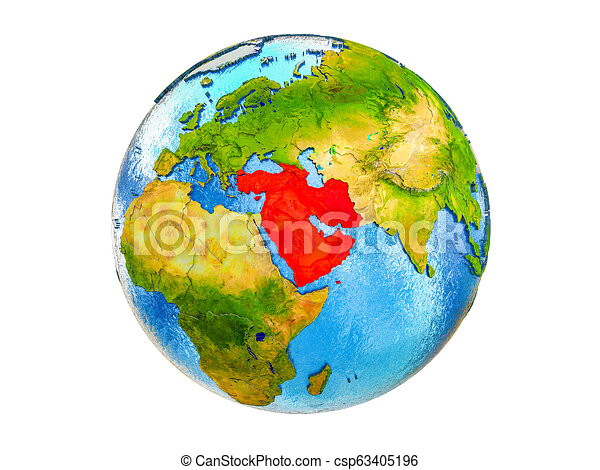 Map of Western Asia on 3D Earth isolated