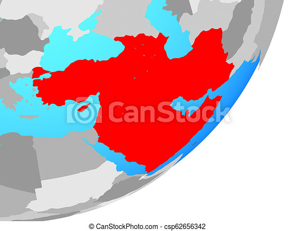Map of Western Asia on globe - csp62656342