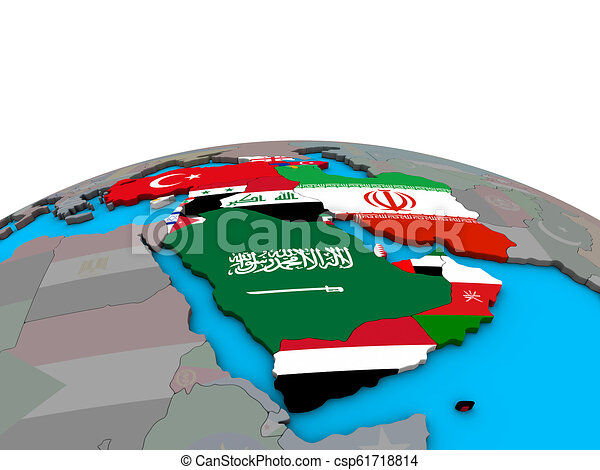 Map of Western Asia with flags on globe - csp61718814