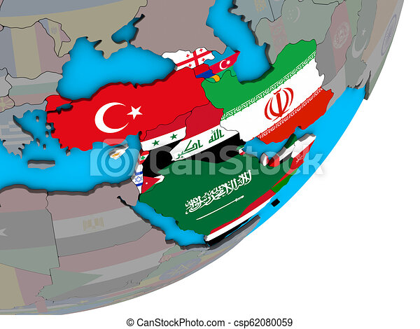 Map of Western Asia with flags on globe - csp62080059