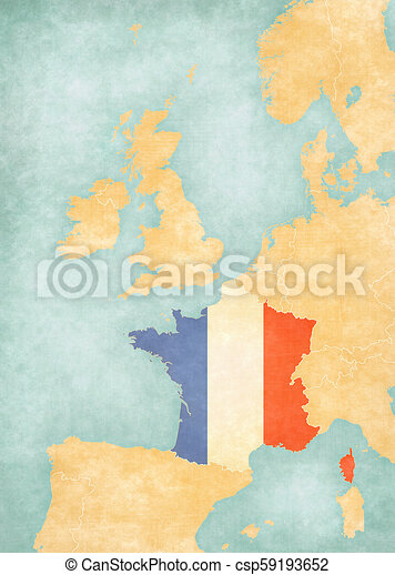 Map of Western Europe - France
