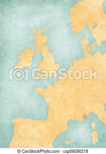 Map Of Western Europe Monaco Monaco Monegasque Flag On The Map