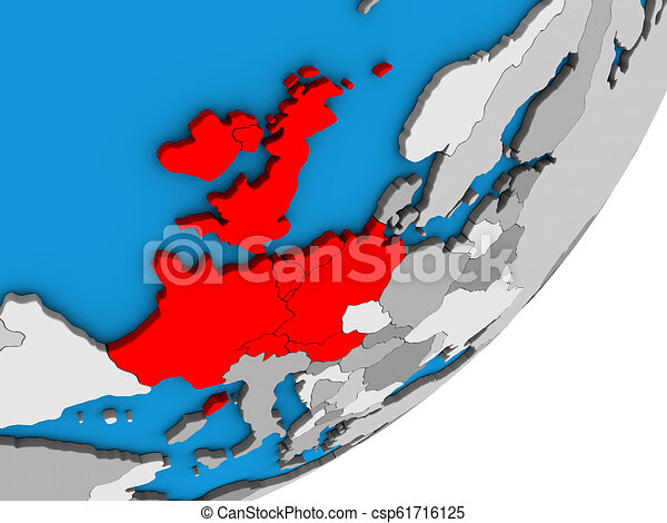 Map of Western Europe on 3D globe - csp61716125