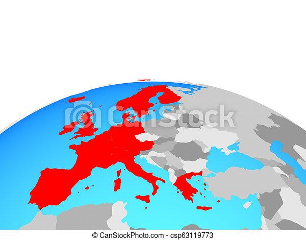 Map of western europe on globe. Western europe on political globe ...