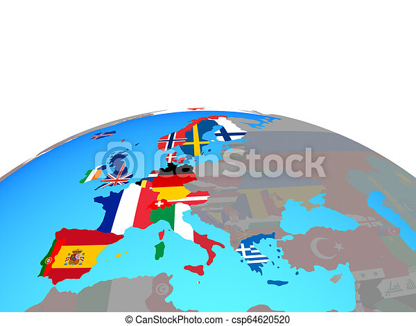 Map of Western Europe with flags on globe - csp64620520