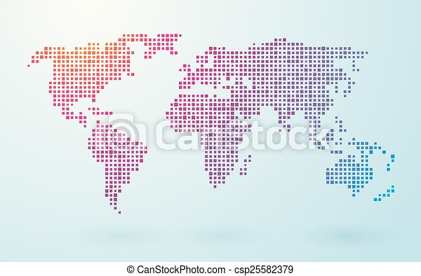 Map of world composed of small colored squares vectors illustration map of world csp25582379 gumiabroncs Choice Image