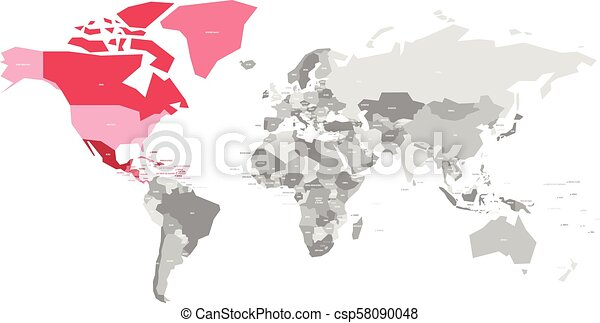 Map of world in grey colors with red highlighted countries of north map of world in grey colors with red highlighted countries of north america vector illustration gumiabroncs Image collections