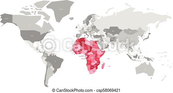 Map of world in grey colors with red highlighted countries of africa map of world in grey colors with red highlighted countries of africa vector illustration gumiabroncs Gallery