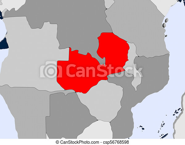 Map of zambia Zambia in red on political map with stock