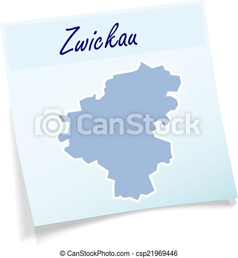Map of zwickau as sticky note in blue eps vector Search Clip Art