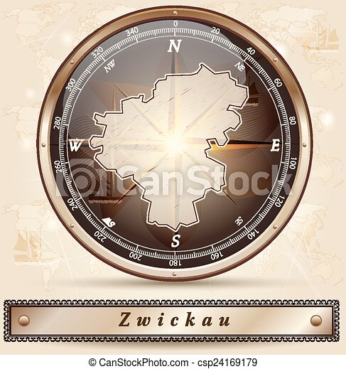 Map of zwickau with borders in bronze vectors illustration Search