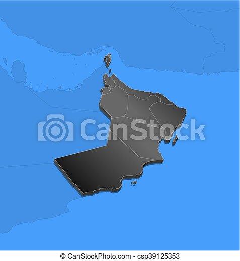 Map - Oman - 3D-Illustration
