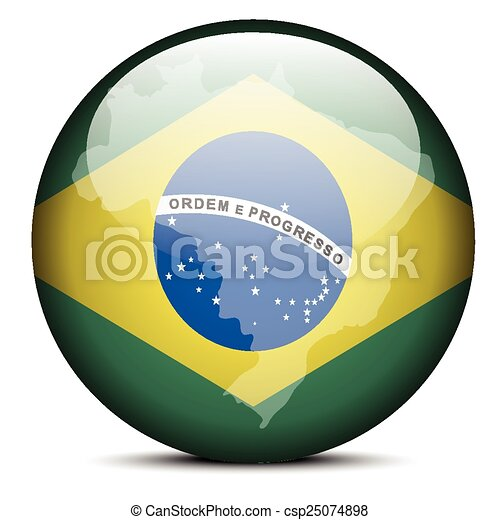 Vector Image Map On Flag Button Of Federative Republic Of Eps - Federative republic of brazil map