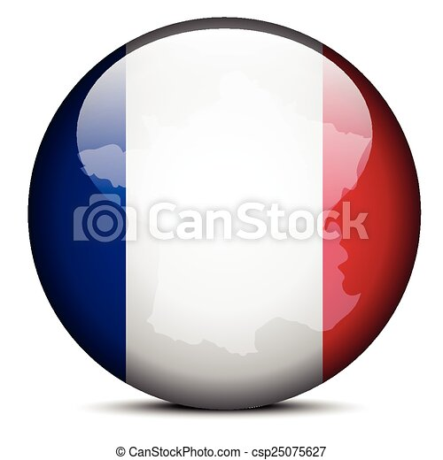 Map on flag button of French Republic, France - csp25075627