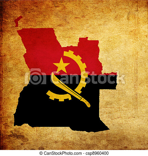 Map outline of Angola with flag grunge paper effect - csp8960400