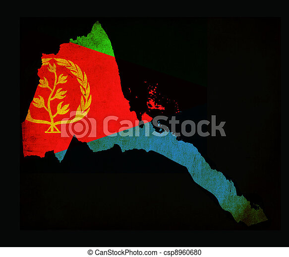 Map outline of Eritrea with flag grunge paper effect - csp8960680