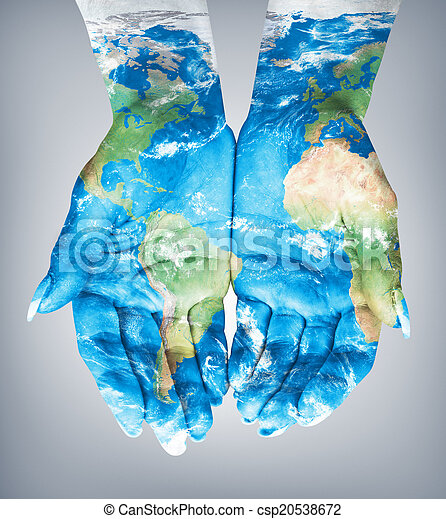 World Map On Hands.Map Painted On Hands Concept Of Having The World In Our Hands