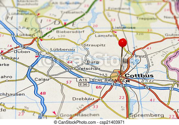 Closeup map of cottbus cottbus a city in germany picture
