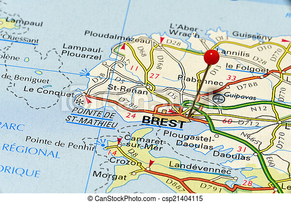 Map Closeup Map Of Brest Bresta City In France Picture Is From