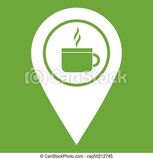 Map pin location with tea or coffee cup sign icon green