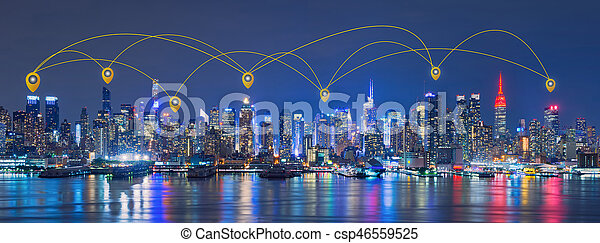 Map pin network and connection technology concept of skyline of new Downtown New York City Map on