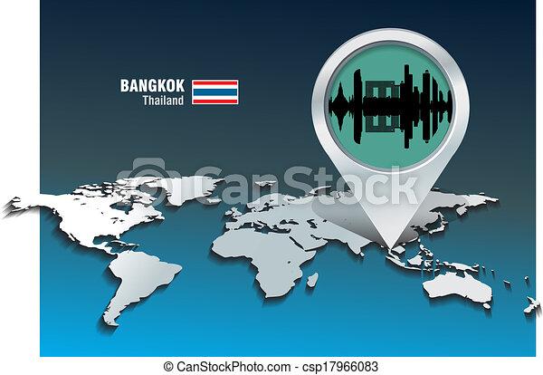 Map pin with Bangkok skyline - csp17966083
