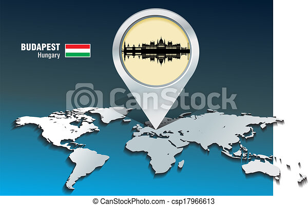 Map pin with Budapest skyline - csp17966613