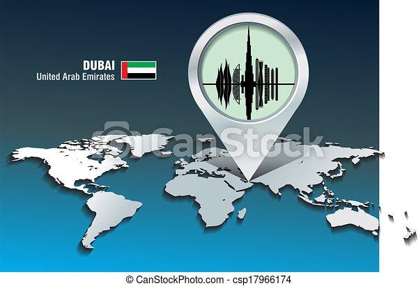 Map pin with Dubai skyline - csp17966174