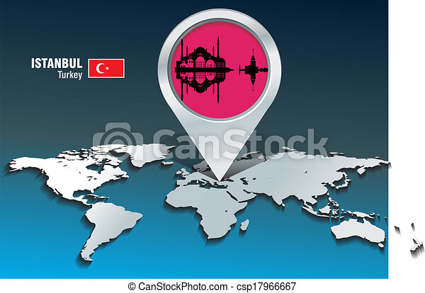 Map pin with Istanbul skyline - csp17966667