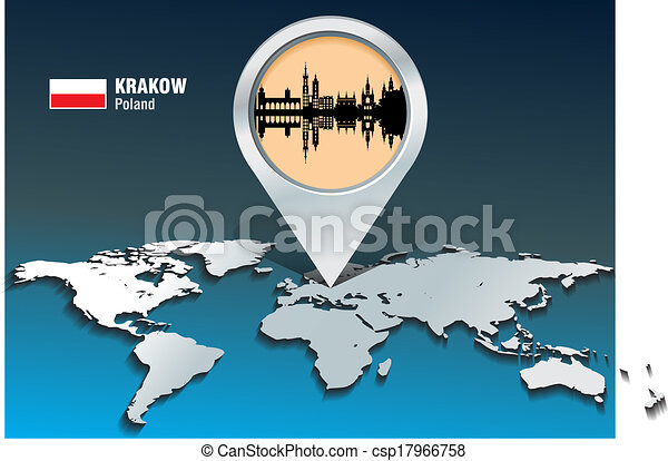 Map pin with Krakow skyline - csp17966758