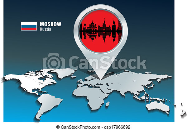 Map pin with Moskow skyline - csp17966892