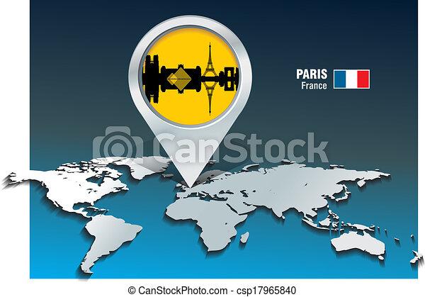 Map pin with Paris skyline - csp17965840