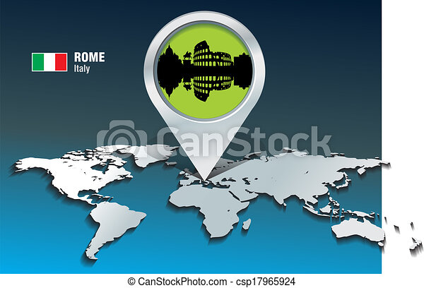 Map pin with Rome skyline - csp17965924