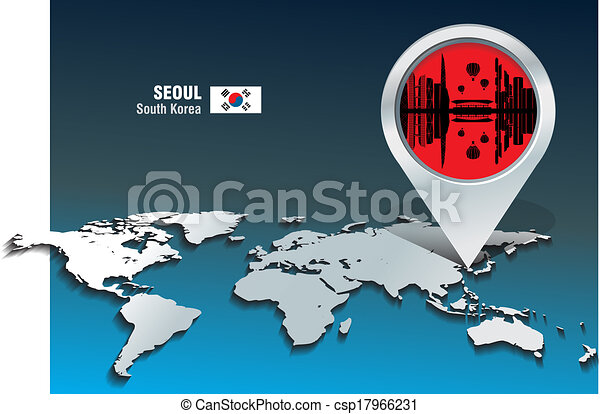 Map pin with Seoul skyline - csp17966231