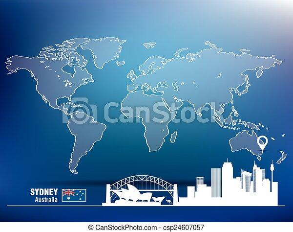 Map pin with Sydney skyline - csp24607057