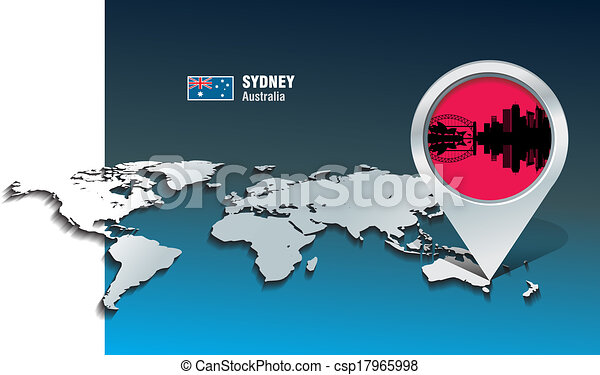Map pin with Sydney skyline - csp17965998