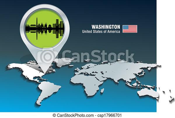Map pin with Washington skyline - csp17966701