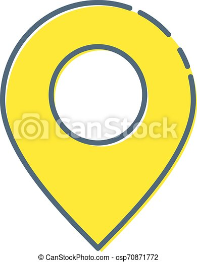 Map pins sign location icon with ellipse in flat simple style. Yellow round shapes on white background. Vector illustration web design element - csp70871772