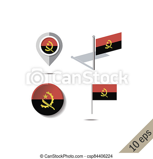 Map pins with flag of ANGOLA - csp84406224