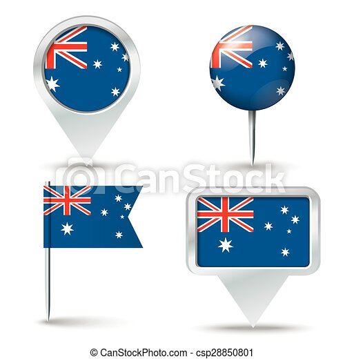 Map pins with flag of Australia - csp28850801
