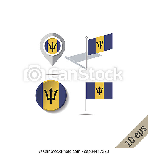 Map pins with flag of BARBADOS - csp84417370