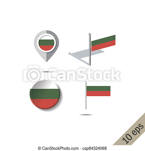 Map pins with flag of BULGARIA - csp84324068