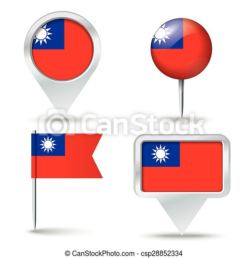 Map pins with flag of Taiwan - csp28852334