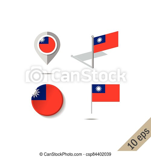 Map pins with flag of Taiwan - csp84402039