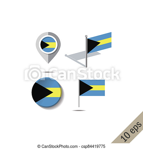 Map pins with flag of THE BAHAMAS - csp84419775