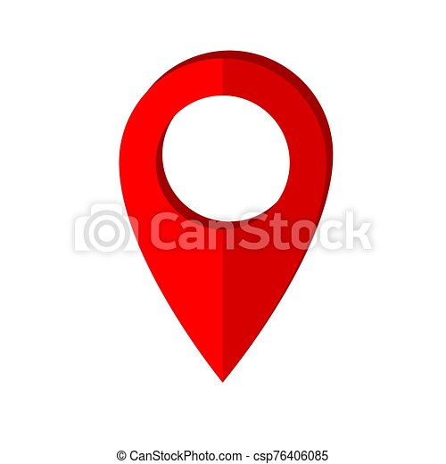 Map pointer icon in flat style. Navigator symbol isolated on white background. Vector illustration - csp76406085
